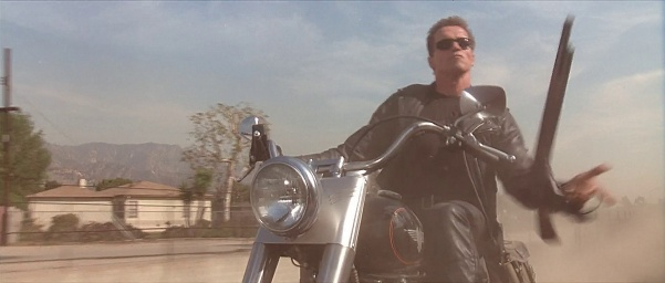 Arnold portraying the T-800 in T2: Judgement Day